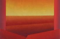 Horizont 1-08, 2008. Acrylat, Quarzsand, Acryl auf Leinwand, 80 x 80 cm.
