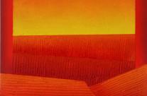 Horizont 2-08, 2008. Acrylat, Quarzsand, Acryl auf Leinwand, 80 x 80 cm